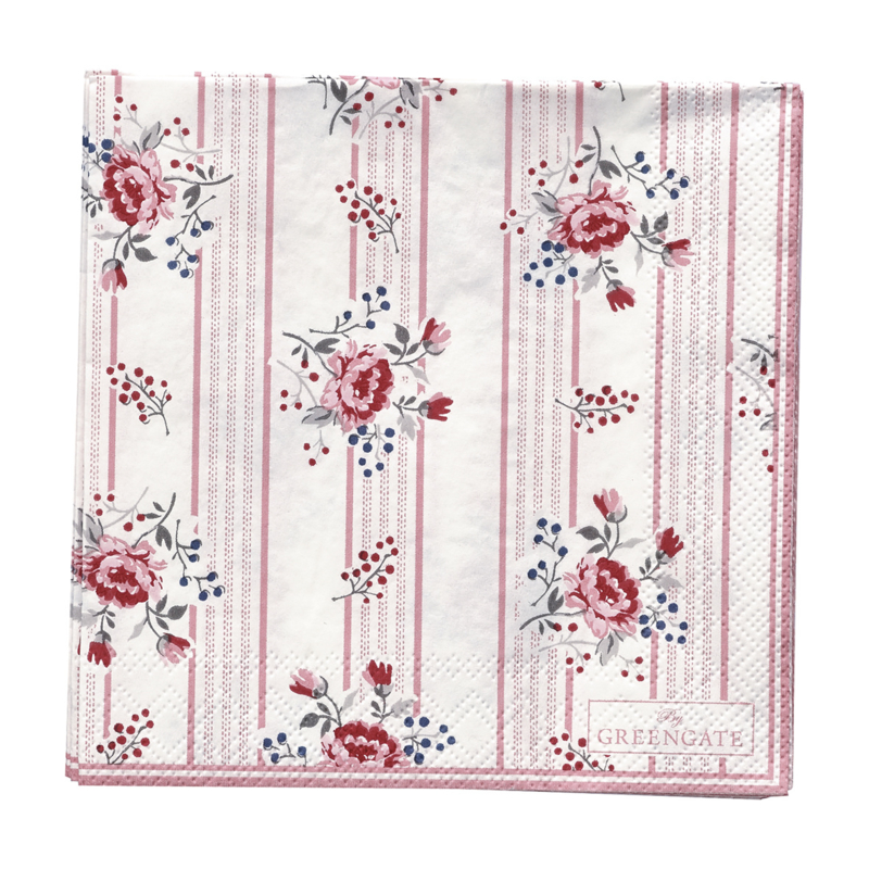GreenGate Paper Napkin Fiona Pale Pink Small 20 Pieces 25 x 25 cm