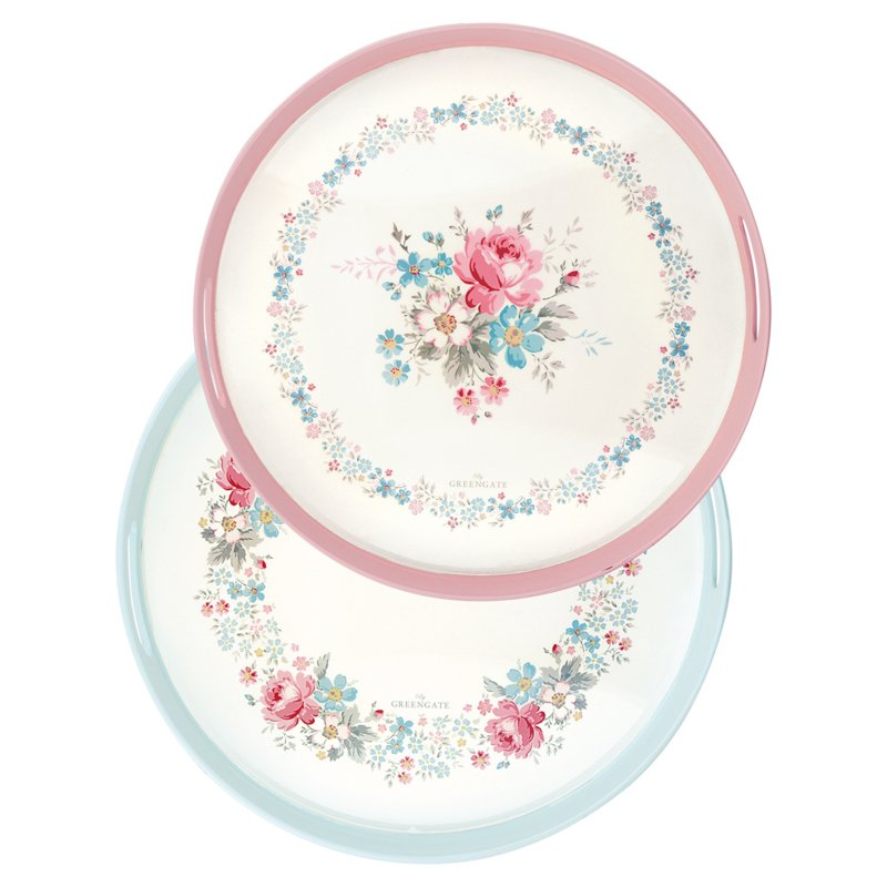 GreenGate Tray Marie Pale Grey Round Set Of Two D 34 cm