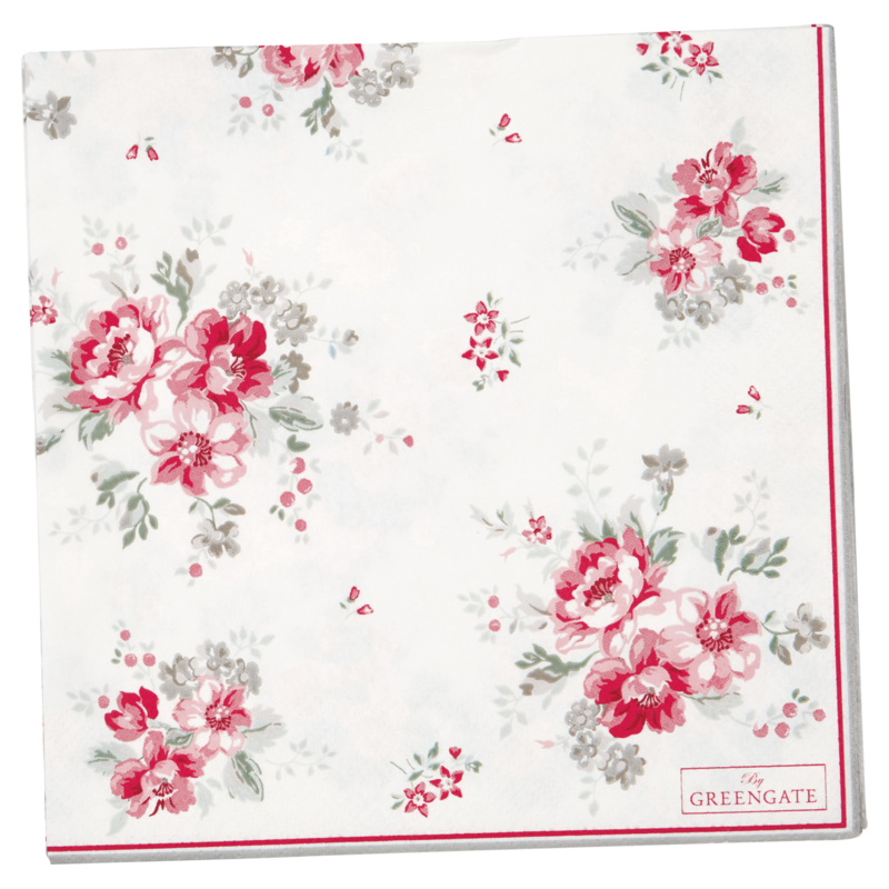 GreenGate Paper Napkin Large Elouise White 20 pieces 33 x 33 cm
