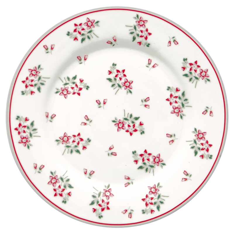 GreenGate Stoneware Plate Avery White D 20,5 cm