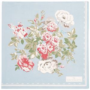 GreenGate Paper Napkin Petricia Pale Blue Large 20 Pieces 33 x 33 cm