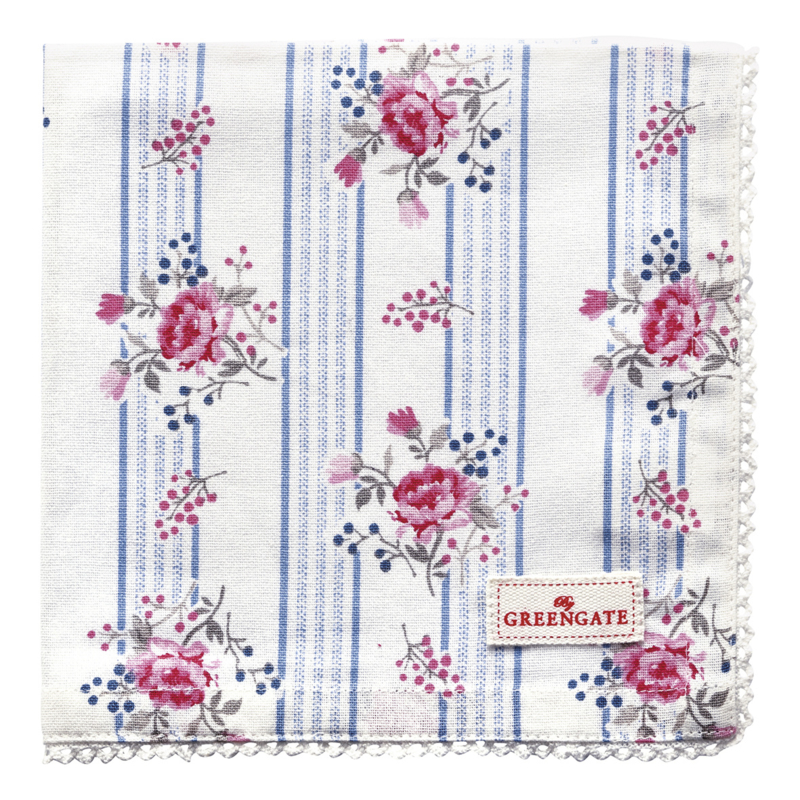 GreenGate Napkin With Lace Fiona Pale Blue 40 x 40 cm