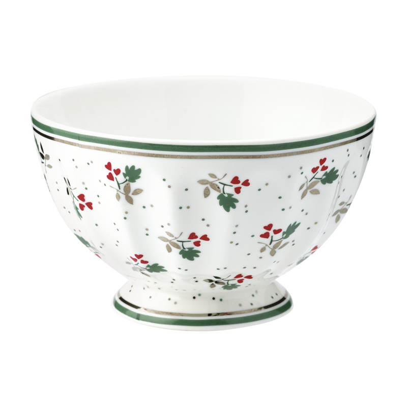 GreenGate Stoneware French Bowl Medium Joselyn White D 10 cm