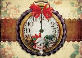 """""""Klok"""" 4 stuks Luxe kerstkaarten met mooie envelop"""