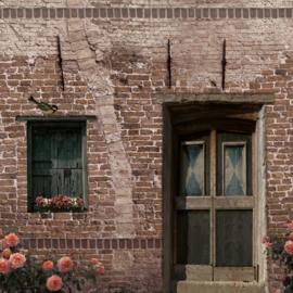 Schuttingdoek 180x180 cm - oud deurtje met bakstenen