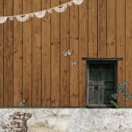 Schuttingdoek 180x180 cm - houten schutting - bruin