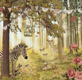 """Behang Zebra & Hert """"roze"""" <-285 cm->"""