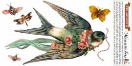 Zwaluw met bloemen - muursticker