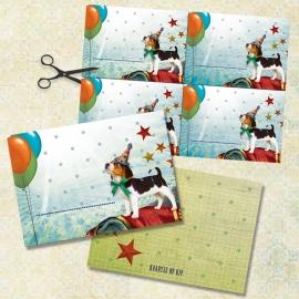 """8 kaarten + 8 labels """"Circushondje"""""""