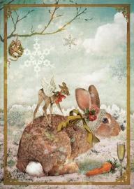 """""""Konijn"""" 4 stuks Luxe kerstkaarten met mooie envelop"""