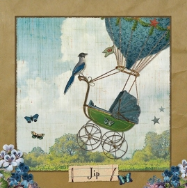 Blauwe luchtballon - craft