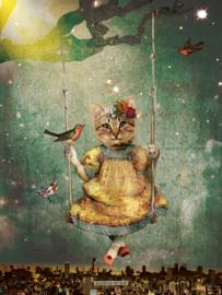 Schommelpoesje 'in de nacht' - poster 30x40 cm