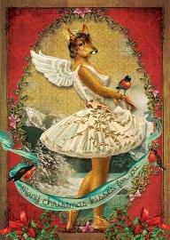 """""""Angel Deer"""" 4 stuks Luxe kerstkaarten met mooie envelop"""