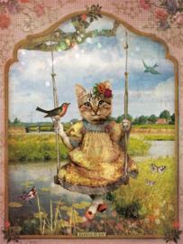 Schommelpoesje 'in de polder' - poster 30x40 cm