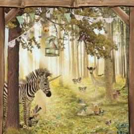 Schuttingdoek 180x180 cm - dierenbos achter toog