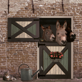 Schuttingdoek 180x180 cm - ezels baksteen