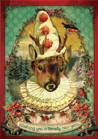 """""""Wishing Deer"""" 4 stuks Luxe kerstkaarten met mooie envelop"""