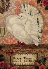 """""""Kerst Duif"""" 4 stuks Luxe kerstkaarten met mooie envelop"""