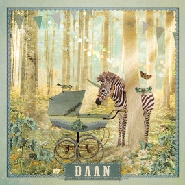 """Zebra in het bos """"blauw"""""""
