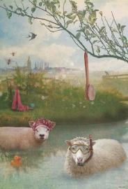 """Behang Schapen """"roze"""" <-190 cm->"""