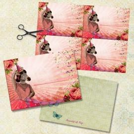 """8 kaarten + 8 labels """"Ballerina"""