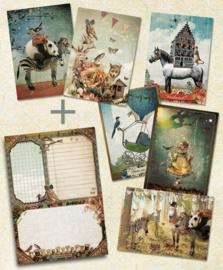 6 Ansichtkaarten + A5-blok naar keuze