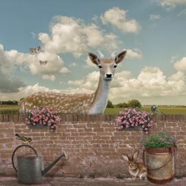 Schuttingdoek 180x180 cm - uitzicht op hert