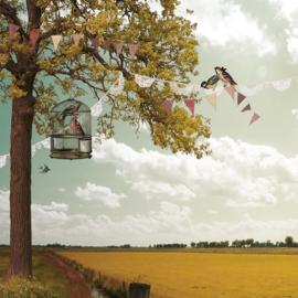 Schuttingdoek 180x180 cm - zomerdag
