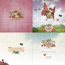 """Vleugelgansje """"bloemen"""" lila"""