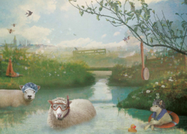 Canvas Schapen - 70x50 cm