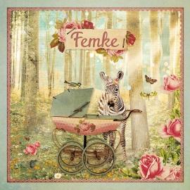 """Zebra in het bos """"roze"""""""