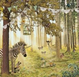 Behang Zebra & Hert <-285 cm->