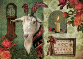 """""""Kerst Bok"""" 4 stuks Luxe kaarten met mooie envelop"""