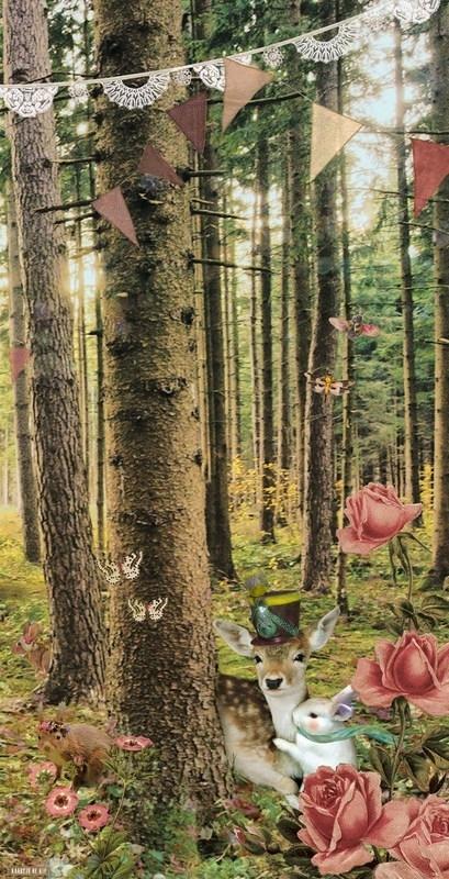 """Behang Knuffelbos """"roze"""" <-142,5 cm->"""