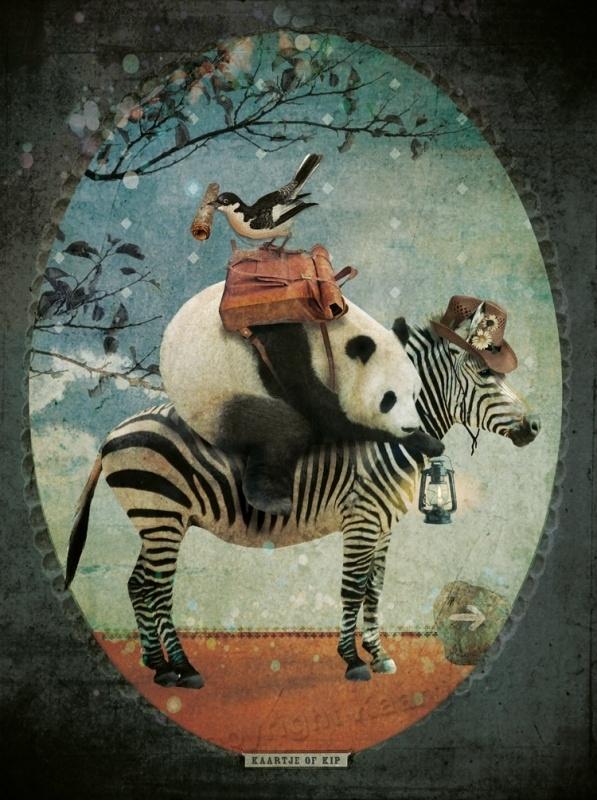 "Panda ""donker"" poster 30x40 cm met gedicht"