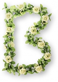 Bloemenslinger Basil Flower Garland Rozen, Wit