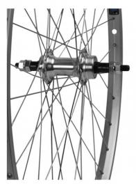 """Achterwiel 26"""" vast freewheel Cyber10 ZILVER"""