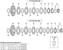 Tandkransje Shimano 10v 15T 105 CS-5600 / CS-5700