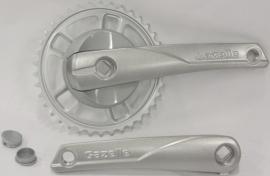 Crankstel Gazelle Strixvaria 38 tands ZILVER aluminium voor gesloten kettingkast