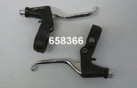 Remhendel set Saccon V-brake zwart/zilver kort 2-vinger