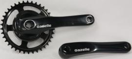 Crankstel Gazelle LH 38 tands ZWART aluminium voor gesloten kettingkast