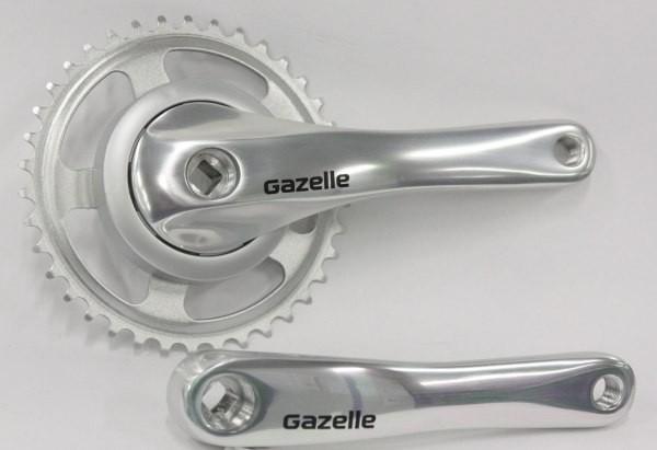 Crankstel Gazelle LH 38 tands ZILVER aluminium voor gesloten kettingkast