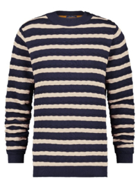 Striped Cable Sweat Navy/Off-White 23.01.524