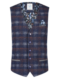 Waistcoat Red/Blue Check Wool 23.01.137