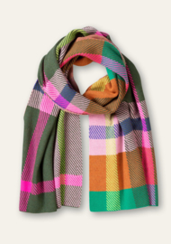 Activity Knitted Scarf Trompette Check Jacquard Kombu Green