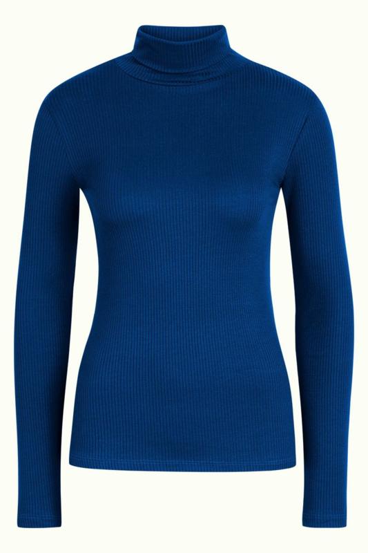 Rollneck Top Uni Rib Tencel Blue Bird 05547