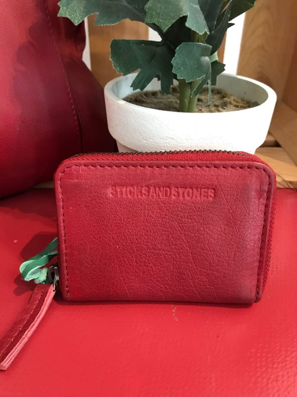 Hudson Wallet Buff Washed Cherry Red 20303