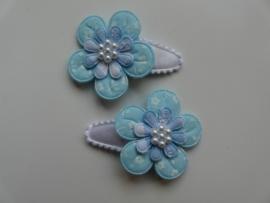 """Haarknipjes """"blauwe bloem"""" 3cm"""