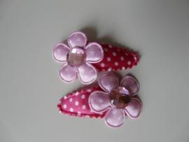 """haarknipjes """"stip/ roze steen"""" 3 cm"""