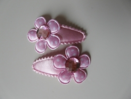 """haarknipjes """"roze/ roze steen"""" 3 cm"""